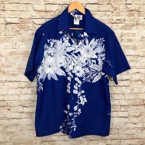 Vintage Hawaiian Floral Shirt Polyester 70s Aloha